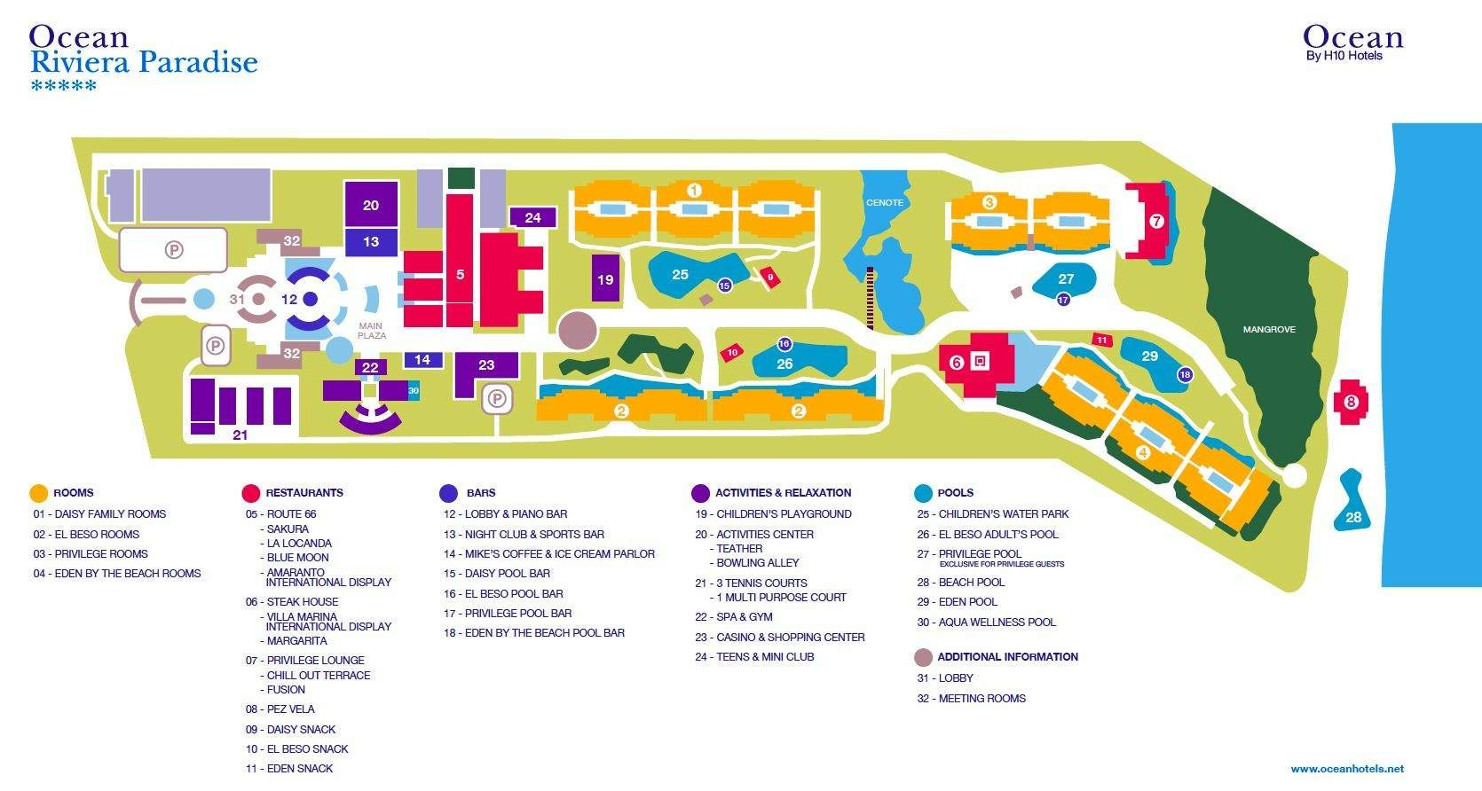 Ocean Riviera Paradise - Resort Map